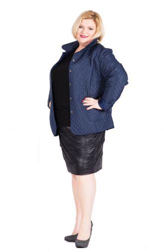 Granatowa pikowana kurtka z kieszeniami