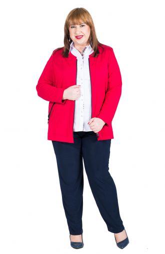 Długi czerwony żakiet z kieszeniami