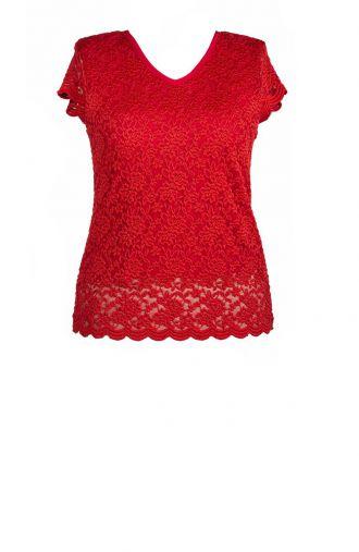 Czerwona koronkowa bluzka wizytowa krótki rękaw