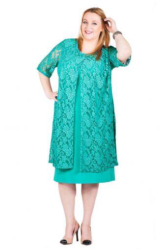 Kobaltowa sukienka z koronkową narzutką-EN