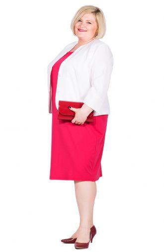 Dopasowana malinowa sukienka z krótkim rękawkiem