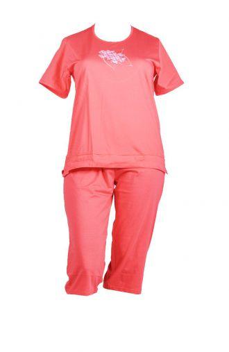 Bawełniana letnia brzoskwiniowa piżama dwuczęsciowa