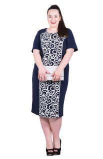 Granatowa wyszczuplająca sukienka, wstawka z białymi kołami