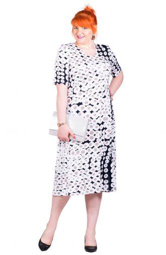 Granatowa sukienka w biało-beżowe koła