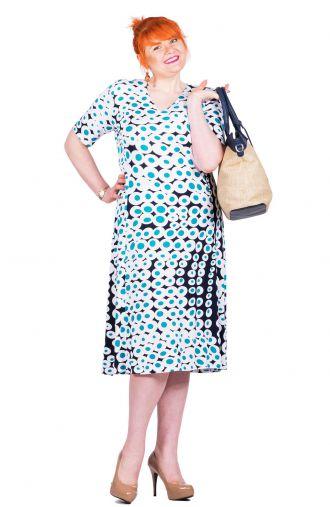 Granatowa sukienka w biało-turkusowe koła