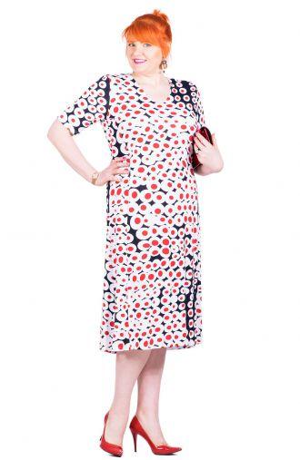 Granatowa sukienka w biało-czerwone koła