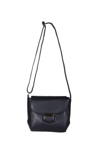 Czarna mała torebka z srebrnym zapięciem