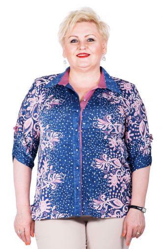 Bluzka koszulowa, materiał imitujący jeans