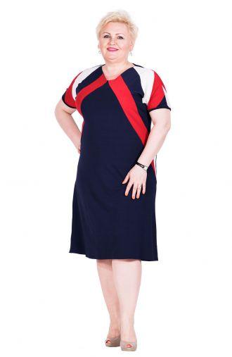 Granatowa sukienka z biało-czerwonymi wstawkami