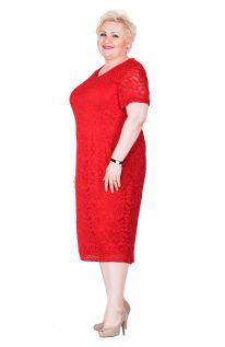 Czerwona koronkowa sukienka z krótkim rękawem