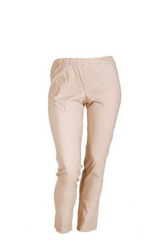 Elastyczne jasnobeżowe cienkie spodnie z gumką