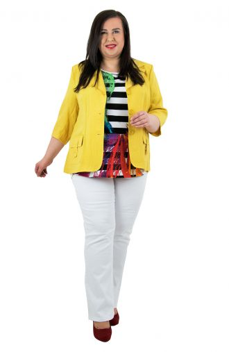 Żółty lniany żakiet z kieszonkami