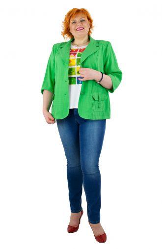 Zielony lniany żakiet z kieszonkami