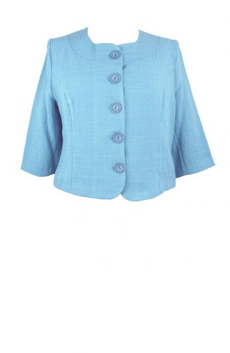 Modny niebieski lniany żakiet