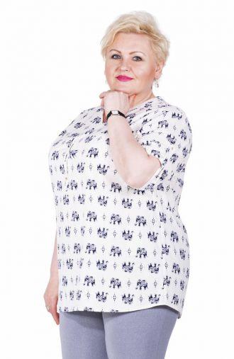 Wiosenna bluzka koszulowa, wzór słonie