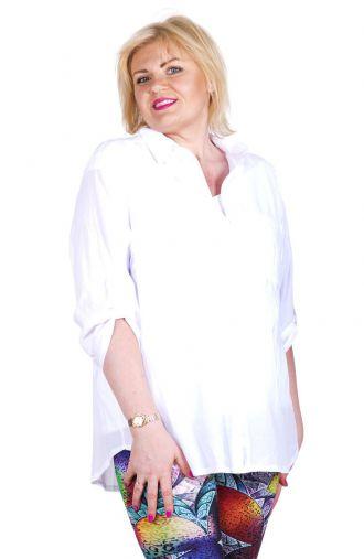 Letnia bawełniania biała bluzka koszulowa guziki