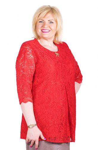 Podwójna czerwona bluzka z koronkowym przodem