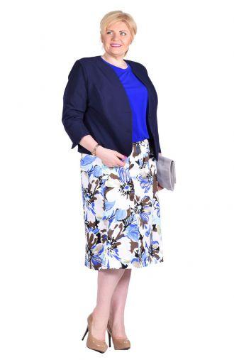 Letnia bawełniana biało-niebieska spódnica w kwiaty