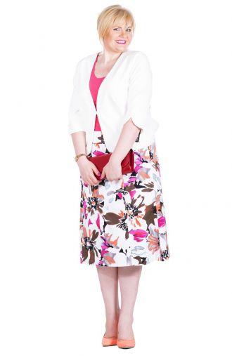 Letnia bawełniana biało-różowa spódnica w kwiaty