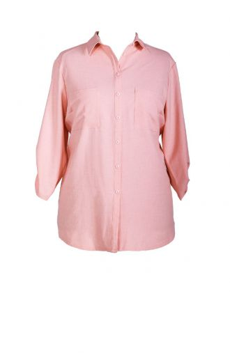 Letnia lniana pudrowo różowa bluzka koszulowa