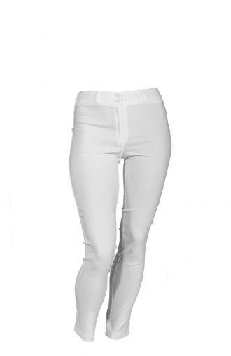 Elastyczne białe spodnie ze streczem