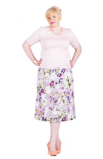 Letnia bawełniana beżowa spódnica w kwiaty