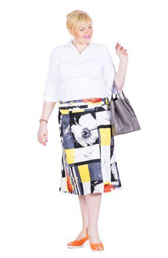 Letnia bawełniana czarno-żółta spódnica w maki