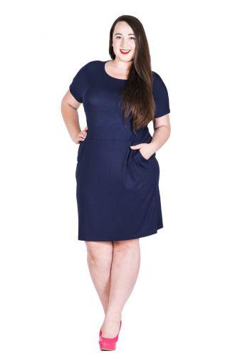 Granatowa krótka sukienka z wiązaniem z tyłu