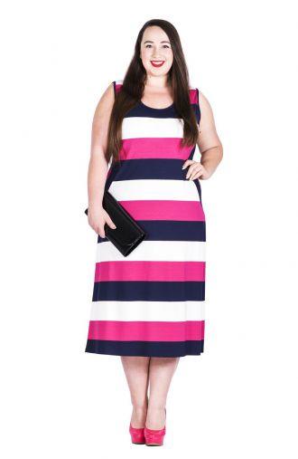 Granatowo-różowa sukienka w pasy na ramiączka