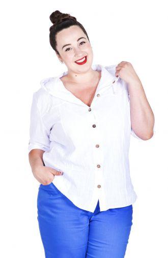 Biała bawełniana bluzka z guzikami i kapturem