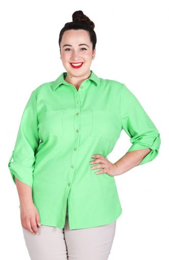 Lniana zielona bluzka koszulowa