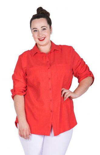 Letnia lniana czerwona bluzka koszulowa