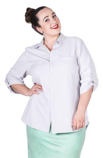 Lniana jasnoszara bluzka koszulowa