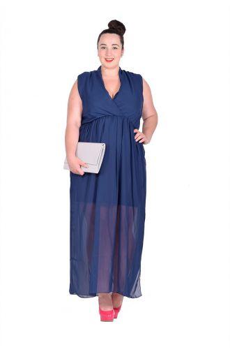 Granatowa gładka szyfonowa sukienka maxi