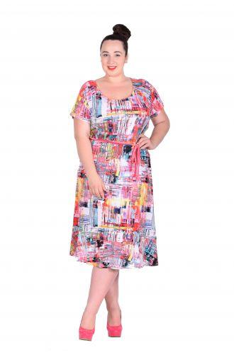Sukienka z paskiem w talii czerwono-różowy wzór