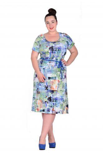 Sukienka z paskiem w talii niebiesko-zielony wzór