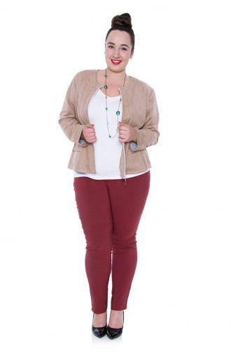 Elastyczne bordowe cienkie spodnie z gumką
