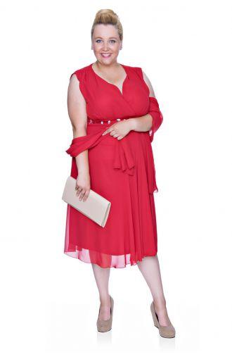 Czerwona szyfonowa sukienka z szalem