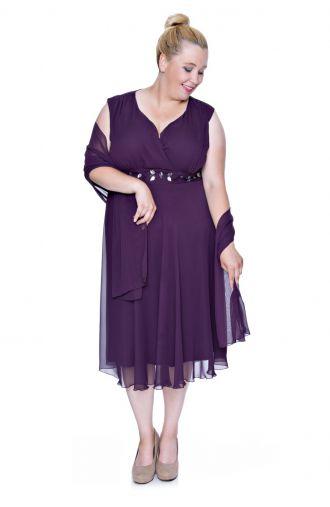Śliwkowa szyfonowa sukienka z szalem