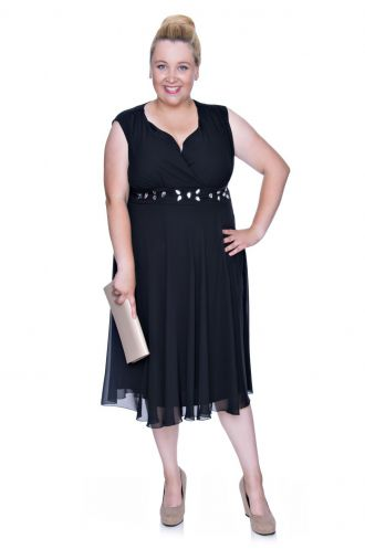 Elastyczna kobaltowa sukienka ze srebrną ozdobą -EN