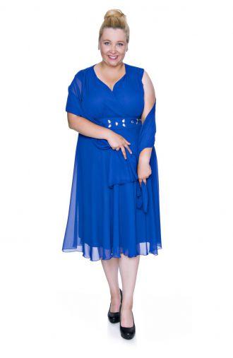 Kobaltowa szyfonowa sukienka z szalem