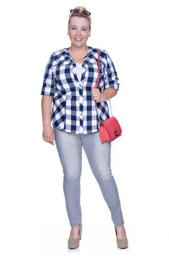 Bawełniana bluzka koszulowa w grubą granatowo-białą kratę