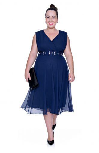 Granatowa szyfonowa sukienka z szalem