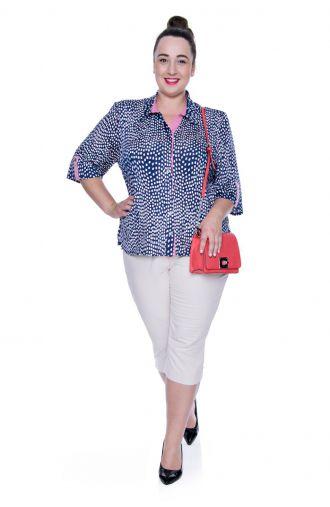 Bluzka koszulowa w biało-różowe kwadraty