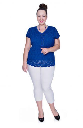 Kobaltowa koronkowa bluzka wizytowa krótki rękaw