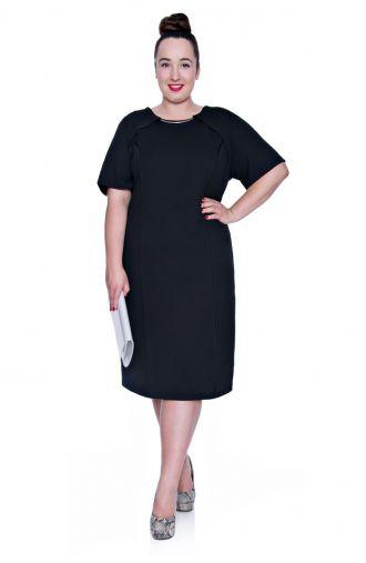Elastyczna czarna sukienka ze srebrną ozdobą