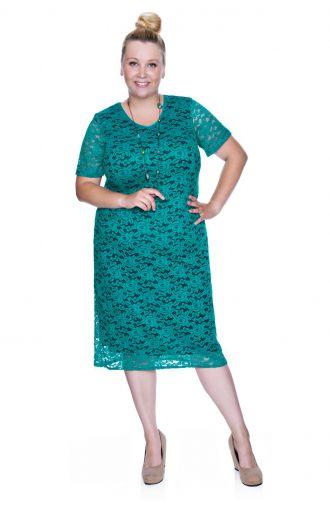 Zielona koronkowa sukienka z krótkim rękawem