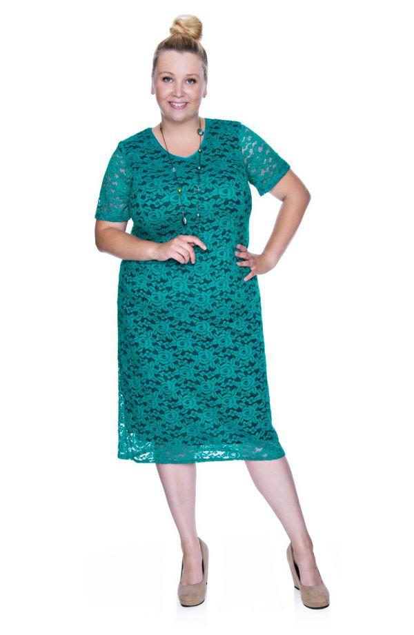 Zielona koronkowa sukienka krótki rękaw