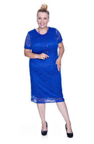 Kobaltowa koronkowa sukienka z krótkim rękawem