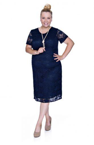 Granatowa koronkowa sukienka z krótkim rękawem